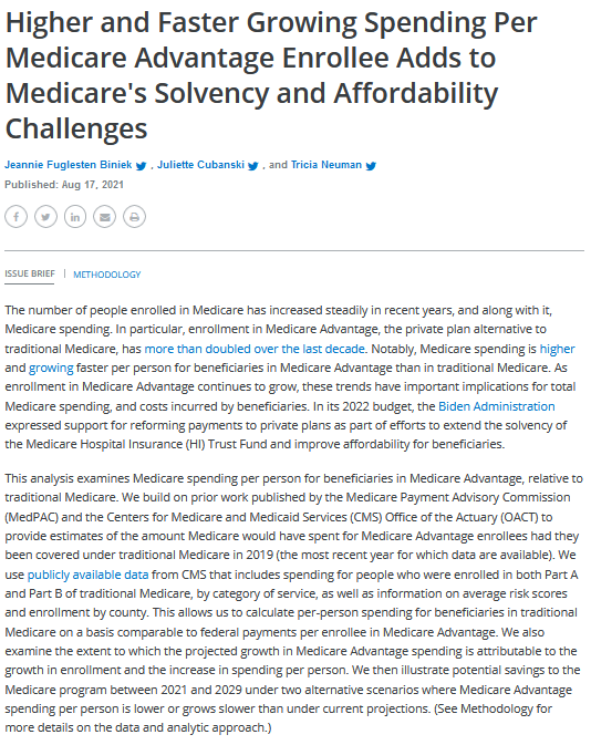 Higher and Faster Growing Spending Per Medicare Advantage Enrollee Adds to Medicare's Solvency and Affordability Challenges