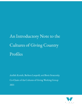 Introductory Note to Cultures of Giving Country Profiles